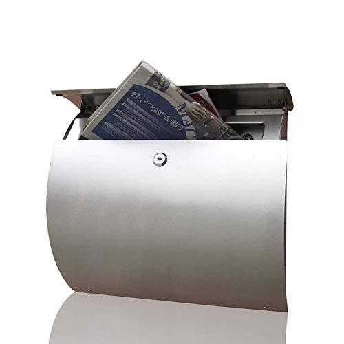 FHKBB Edelstahl-Briefkasten mit Schloss, Innen- und Außenbriefkasten, Moderne Briefkästen zur Wandmontage Briefkasten mit 2 Schlüsseln