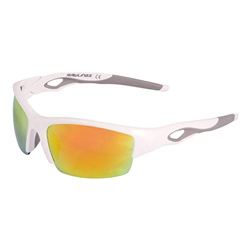Rawlings 132 Youth Baseball Sunglasses - Lightweight Sports Boys Sun Glasses for Running, Cycling and Casual Wear - Plastic Frame & Polycarbonate Lens (White/Orange)