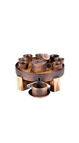 TYZP Juego de té de cerámica China Kung Fu para el hogar, Oficina, decoración Vintage, automático, Hecho a Mano, diseño de Molinillo de Piedra, Estilo japonés, Regalo para Adultos, Hombres y Mujeres