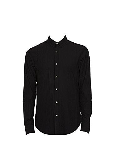 Forme d'Expression Men's Black Binded Wool Shirt 50