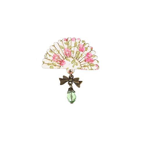 MOONRING - Broches de ventilador vintage en forma de abanico delicado patrón de flores broches de bufanda, accesorios de ropa, regalo rosa, verde