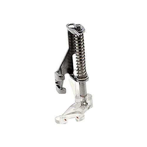 Alfa Prensatelas borda-acolcha libre abierto (enmangue bajo, pie transparente con eje de acero inoxidable), accesorio para máquina de coser