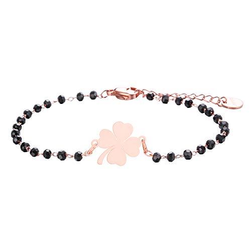 Bracciale con ciondolo a quadrifoglio portafortuna, in acciaio inox, con perline nere, semplice braccialetto portafortuna