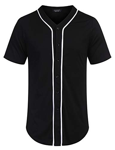 COOFANDY Men's Baseball Team Jersey Button Down Shirt Short Sleeve Top Black
