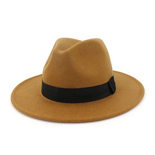 LUOXUEFEI Gorras Sombrero Negro Gris Sombrero De ala Ancha Hombres Mujeres Sombrero Bombín Sombrero Gorra De Fieltro con Cinta
