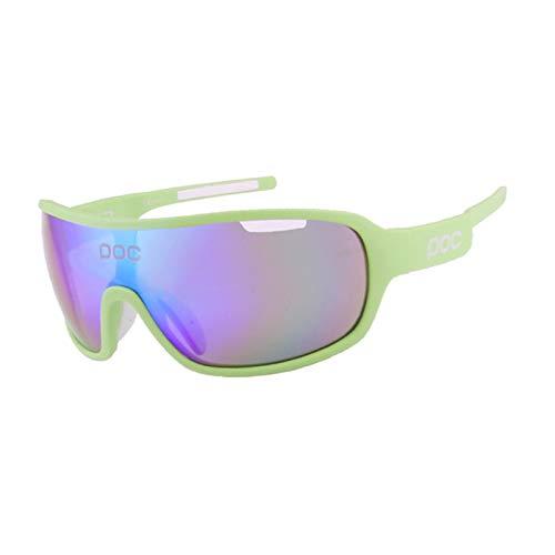 Gafas de Ciclismo para Hombre, Gafas de Sol polarizadas Deportivas para Ciclismo con 4 Lentes anti-UV400 Intercambiables para Correr, Conducir, Pescar, Golf, béisbol,Verde