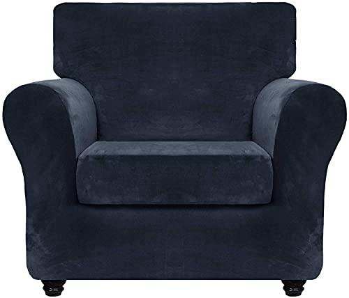 JJYY Funda de sofá de Terciopelo de Lujo con Fundas de cojín separadas, Protector de Muebles Antideslizante de Repuesto de Funda de sofá de Felpa Ultra Suave elástica con Fondo elástico (Azul mar