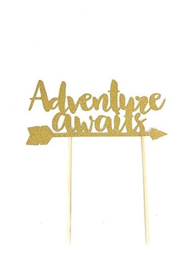 1 pc Adventure awaits gold glitter cake topper bohemian boho arrows native tribal birthday theme toddler boy girl