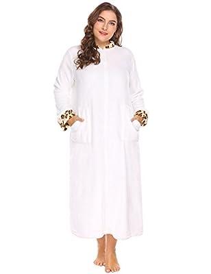 Ekouaer Women's Plus Size Soft Warm Stand Collar Leopard Trim Half Zip-Front Bathrobe Plush Fleece Gown with Pockets