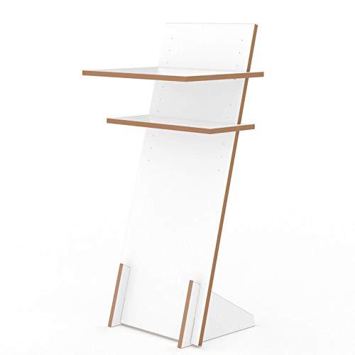 Tojo Pult | Stehpult höhenverstellbar | Auch als Sitzpult geeignet | 120 cm x 50 cm (H x B) | Farbe Weiß | Schreibpult mit verstellbaren Fächern | Holzpult zu Lesen und Schreiben | Design Pult