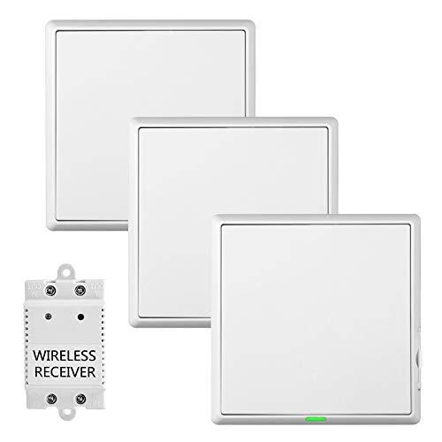 Funkschalter Lichtschalter mit Empfänger, Küche Keller Wireless Schalter Kit Außen 60M Drinnen 20M Ferngesteuert Deckenlampe Max Belastung1100W RF 433MHz (3 Steuerung 1)