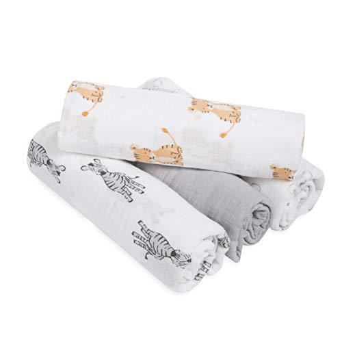 aden + anais essentials - 4 Maxi-langes pour bébé en mousseline 100 % coton - Pack de 4 - Langes ultradoux et légers - Multi usages - Imprimé Safari Babes - Garçon et fille - 112 cm x 112 cm