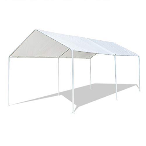 VINGLI 10'X20' Upgraded Carport Canopy for Car, Waterproof Panels Garage Vehicle Sunshine Boat Shelter, Outdoor Party Tent Garden, White