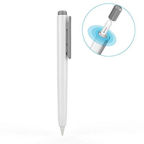 TiMOVO Stift Hülle Kompatibel mit iPencil 2. Generation, Kratzfest Einziehbar Stifthalter Stylus Halterung für iPad Air 4. 2020, iPad Pro 11/12.9 2020, iPad Pro 11/12.9 2018 - Weiß und Grau