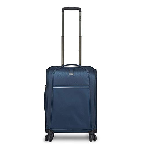 STRATIC Unbeatable 4.0 Suitcase Soft Shell Trolley Trolley Suitcase Hand Luggage Soft Luggage TSA Lock Water Resistant Expandable Size S Navy