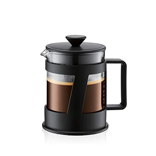 Bodum CREMA Kaffeebereiter (French Press System, Permanent Edelstahl-Filter, Sicherheits-Deckel, 0,5 liters) schwarz