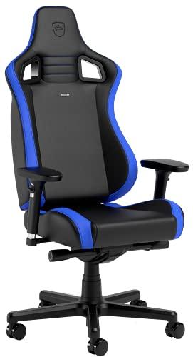 noblechairs Epic Compact Gaming Stuhl, Bürostuhl Ergonomisch, Schreibtisch Stuhl, Kopf- und Lendenstütze, PU-Leder, Entwickelt für Nutzer bis 120 kg und 1,7 Meter Hoch (Schwarz-Blau/Carbon)