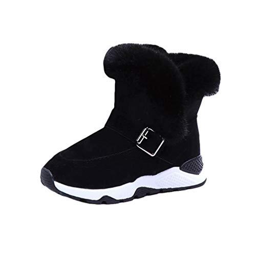 Rengzun Botas de Nieve Cálidas para Niños Invierno Forro de Cachemir Zapatos Calientes Anti-Deslizante Niño Chica Térmico Zapatillas Negro
