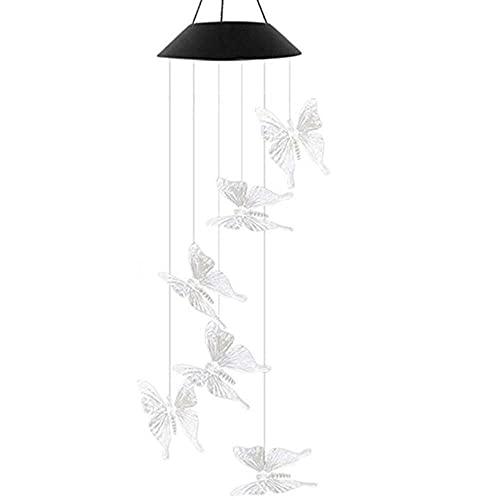 AZYVv Luz solar solar accionado viento carillón luz LED jardín colgante Spinner lámpara cambio de color al aire libre luces lámpara solaire exterior