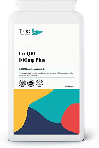 Troo Health Care CoQ10 (100 mg) Plus - 180 Capsules | High Strength Trans Form Co Enzyme Q10 Supplement | Enhanced with Vitamin B1 | Manufactured in The UK to GMP Standards