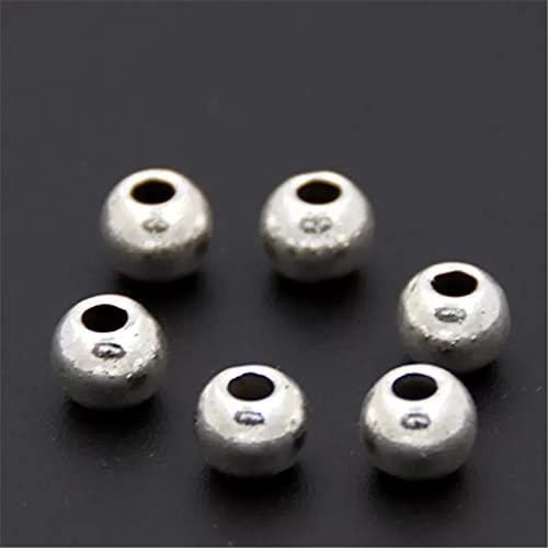 FGHHT 20 Piezas Bola Redonda Agujero Interior 6mm Abalorios para Pulseras Collar DIY Pulido