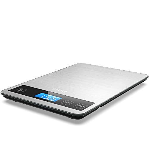 Balance de Cuisine Electronique, HOMEVER Balance Alimentaire Numérique de Précision en Acier Inoxydable, Capacité 15kg/1g, Écran LCD Rétroéclairé, Verre Trempé