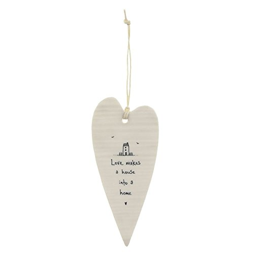East of India Love makes a house a home' Long Porcelain Heart