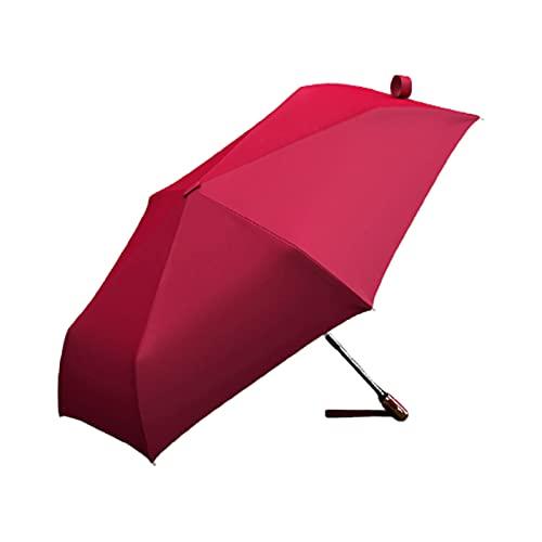 YQDHHD Paraguas a Prueba de Viento, Paraguas de Protección UV Paraguas Plegable Portátil Paraguas de Viaje Compacto Toldo Reforzado con 6 Nervaduras Apertura y Cierre Automáticos,Rojo