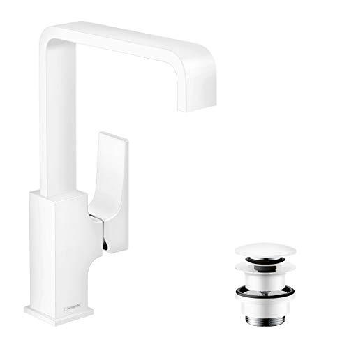 hansgrohe Metropol 32511700 - Grifo monomando para lavabo (mango de palanca y desagüe push-abierto), color blanco mate