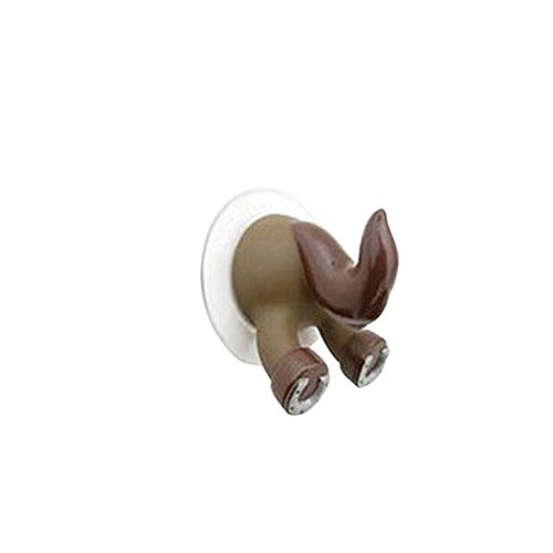 DZSW Gancho de pared con forma de cola de animal de dibujos animados con ventosa para baño, cocina, gancho de pared fuerte al vacío (color: café)