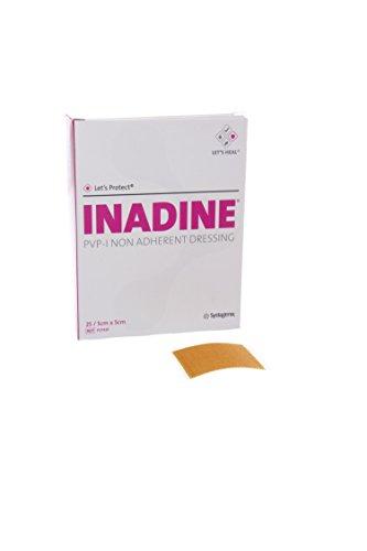 Inadine JKP01481 PVP-I - Apósitos no adherentes, estériles, 5 cm de ancho, 5 cm de largo (25 unidades)