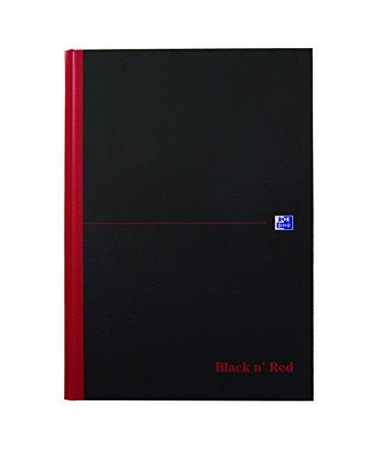 Oxford 400047607 Gebundenes Buch Black n\' Red A4 kariert mit Hardcover und Lesezeichenband schwarz/rot Geschäftsbuch Haushaltsbuch Journal