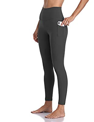 Colorfulkoala Women's High Waisted Yoga Pants 7/8 Length Leggings with Pockets (L, Charcoal Grey)