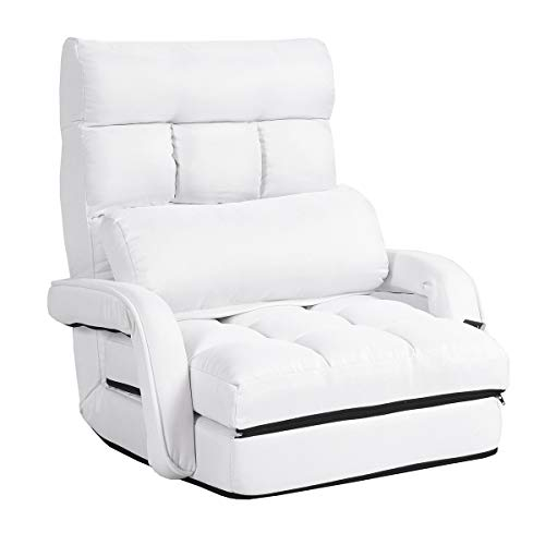 COSTWAY Klappsofa verstellbar, Bodenstuhlsofa gepolstert, Liegebett mit Armlehnen und Kissen, für Zuhause und Büro (Weiß)