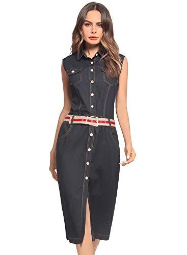 HX fashion Jeansjurk Dames Mouwloze Revers Spijkerjurk Comfortabele Maten Met Knoopsluiting En Zakken Slim Fit Blousejurk Vintage Mode Zomerjurk Overhemdjurk