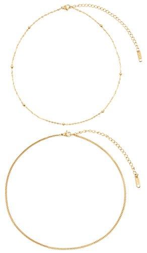 Happiness Boutique Delicato Set di Choker Placcati Oro | 2 Delicate Collane Minimal Acciaio Inossidabile