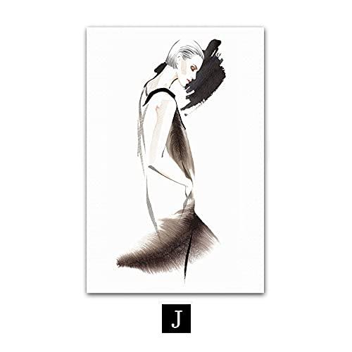 jiayouernv Moda Coco Cotizaciones Cartel Perfume Sexy Lady Arte De La Pared Lienzo Pintura Negro Blanco Vogue Imágenes para La Sala De Estar Decoración del Hogar C105 50X90Cm