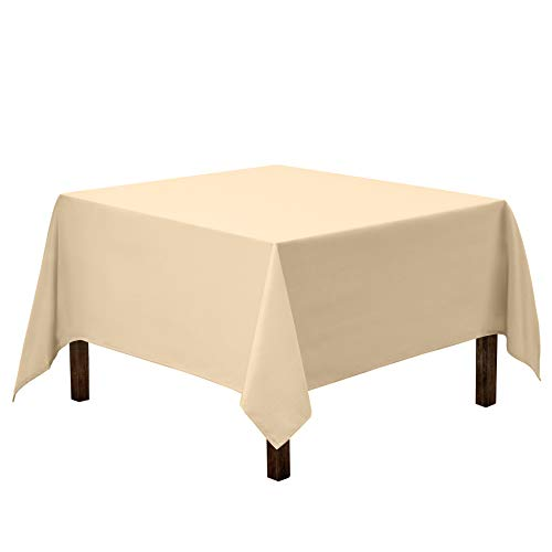 Gee Di Moda Square Tablecloth - 70 x 70 Inch - Beige Square Table Cloth for Square or Round Tables in Washable Polyester - Great for Buffet Table, Parties, Holiday Dinner, Wedding & More