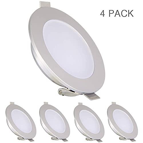 acegoo 4 x LED Spots 12V 4000K Plafonnier Encastrable, Eclairage intérieur, pour Camping-car Bateau Caravane Salle de bain Cuisine lumières, 4,5W étanche IP65, Blanc Neutre