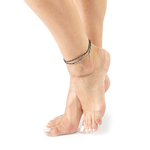 Wind Passion Blue Ankle Bracelet for Women, Unique Adjustable Rope Anklets Foot Jewelry for Girls, Teens