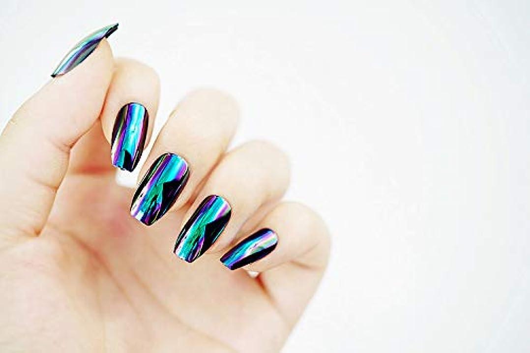 間違いなく司書構造欧米で流行るパンク風付け爪 色変化のミラー付け爪 24枚付け爪