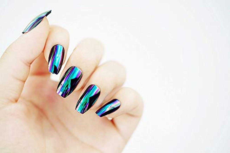 悪化させる土器滑る欧米で流行るパンク風付け爪 色変化のミラー付け爪 24枚付け爪