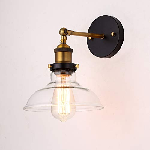 RAQ glazen wandlamp E27 fitting 110 V 220 V eenarmige wandlamp verstelbaar gebruikt in de slaapkamer eetkamer 01 Amber glas.