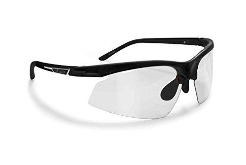 SNATCH Radbrille Selbsttönend Polarisiert - Fahrradbrille Photochrome Sportbrille Sonnenbrille Ski Laufen Golf Running Earthquake by Italy (Matt Schwarz/Shiny Schwarz, Photochromen)