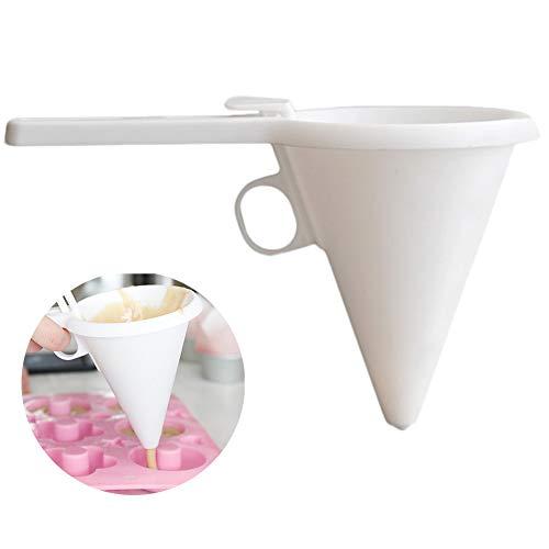Dispensador de embudo ajustable esmaltado para repostería, pastelería, glaseado, herramienta para hornear, para chocolate, masa, pastelería, crema, blanco, Tamaño libre