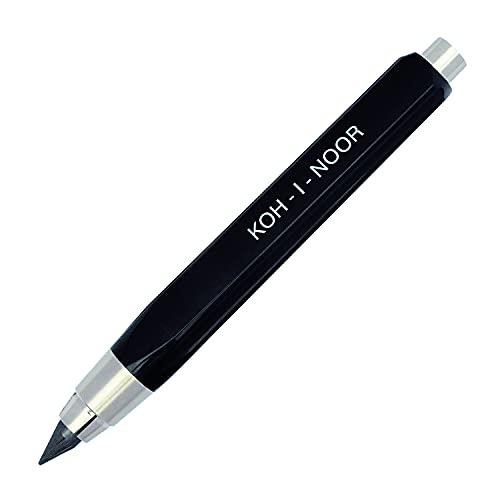 KOH-I-NOOR - Matita portamine corta, mina 5,6 mm, 10 cm, colore: Nero
