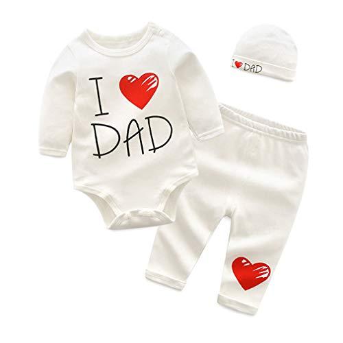 ALLAIBB Bébé Papa d'amour Maman Tenue Le Maillot de Corps Pantalon Casquette Ensembles Coton 0-12M Size 73 3-6M (Love Dad)