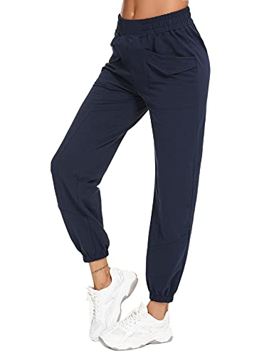 Sykooria Pantaloni Donna Pantaloni Sportivi Donna Estivi con Tasche in Cotone Pantaloni Jogger Pantaloni Sportivi Morbidi Leggeri Pantaloni Casual Donne Sciolto da Piede del Fascio(Blu Navy,L)