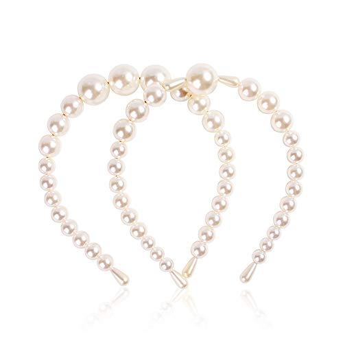 iufvbgxdh 2 piezas de diademas de perlas artificiales hechas a mano, accesorios...
