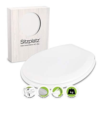 SITZPLATZ - 40010 7 - WC-Sitz Calabria in Weiß - Hochwertiger Toilettensitz aus Duroplast - WC Brille mit Fast-Fix Schnellbefestigung & Kunststoff-Scharnier